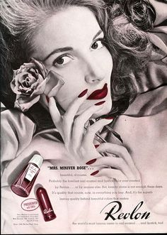 REVLON Nail Polish & Lipstick Ad MRS MINIVER ROSE 1943 - named after fictional wartime character Mrs Miniver trailer: http://www.youtube.com/watch?v=J8NInYPgofI