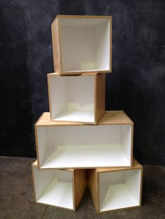 Painted and lacquered plywood. Varied sizes / shapes and colours available. Contact us today for custom storage cubes. Plywood Storage, Plywood Boxes, Vinyl Storage, Fabric Storage, Cube Storage, Cube Bookcase, Cube Shelves, Hanging Bookshelves, Creative Bookshelves