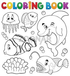 Coloring book ocean fauna topic 1 - picture illustration.