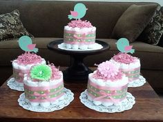 Rosa y verde también pájaro pañal tortas Baby Shower centros
