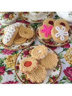 Pattern includes grandma's traditional sugar cookie, finger lace sugar cookie, heart jam-filled raspberry sandwich cookie, flower jam-filled creme and tangerine sandwich cookie, piped shortbread cookie, and a profiterole with strawberry icing. They'r...