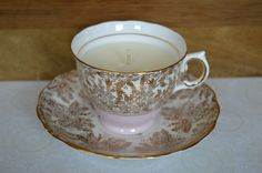 Upcycled Colclough Teacup Candle - Pink with Gold Leaves - Vanilla Soy Wax Candle - pinned by pin4etsy.com