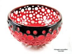 Bright red ceramic lace bowl / berry bowl by Ningswonderworld, $45.00