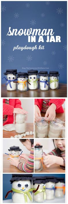 Snow Man In A Jar Playdough Kit Gift Idea - 35 Unique DIY Mason Jar Gifts for Everyone - Page 5 of 6 - I Heart Crafty