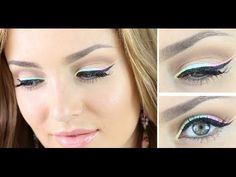 Silver Glitter Liner and Bubble Gum Lips Makeup Tutorial - YouTube