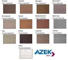 Azek Composite Decking Comes In A Wide Range Of Colors To Coordinate Well With Siding