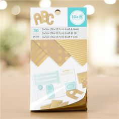 We R Memory Keepers - Paper Pad - 3 x 5 - Kraft With Gold Foil - 36 Sheets::Decorative Papers::Papers & Boards::ArtistSupplySource.com