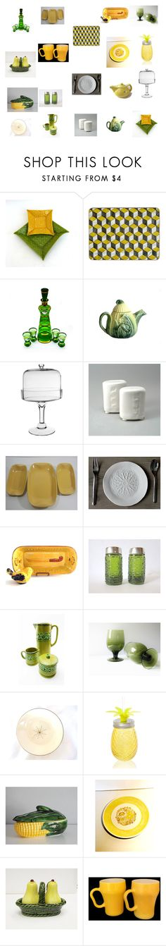 """""""Retro Yellow and Lime Dining Table ideas"""" by einder ❤ liked on Polyvore featuring interior, interiors, interior design, home, home decor, interior decorating and Anchor Hocking"""
