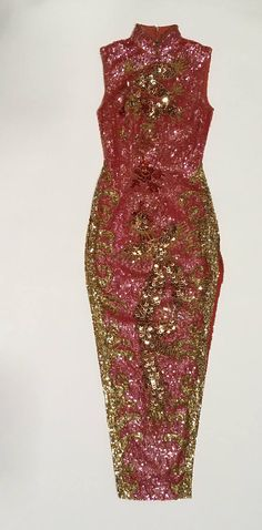 Hey, I found this really awesome Etsy listing at https://www.etsy.com/listing/562079784/sequin-dress-pink-cheongsam-statement