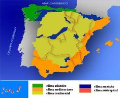 Mapa del clima de montaña en España representado con el color azul.