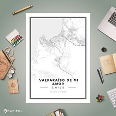 A map poster from Mapiful.com. A creative DIY tool to make your own map poster. This is 'Valparaíso DE MI AMOR'