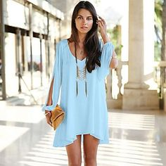 Summer Dress 017 casual Plus Size Women Clothing Long sleeve solid color Chiffon V Dress Vestidos Beach Dress Loose neck dress Trendy Dresses, Casual Dresses, Short Dresses, Summer Dresses, Beach Dresses, Mini Dresses, Dress Beach, Women's Dresses, Summer Outfits