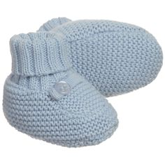 ABSORBA Boys Blue Cotton Knitted Baby Bootees
