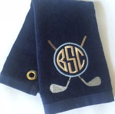 Monogrammed Golf Towels  Velour Terry by Madabella Couture Also available in black and brown.