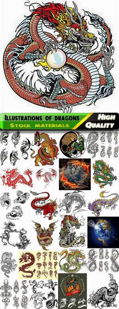 Illustrations and tattoos of Chinese dragons - 25 Eps