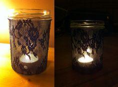 koronka + słoik = świecznik