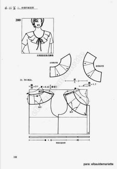 Album Archive - collars: Coquille and flounces /China/ Easy Sewing Patterns, Clothing Patterns, Pattern Cutting, Sew Pattern, Collor, Baby Girl Dresses, Couture, Polo Shirt, China