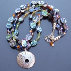 Sea Opal paua abalone shell necklace by LibertyOriginals on Etsy, $62.00