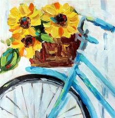 """DIY Abstract Heart Painting and a Fun Paint Party Daily Paintworks – """"Sunflowers & Bike"""" von Suzy 'Pal' Powell Bicycle Art, Bicycle Painting, Bicycle Basket, Bicycle Design, Heart Painting, Paint Party, Acrylic Art, Acrylic Painting For Kids, Watercolor Paintings"""