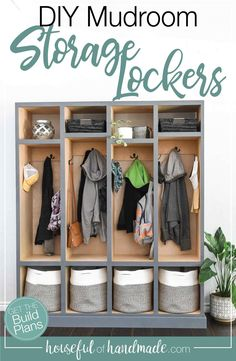 Build this mudroom storage locker to organize all your families gear. The beautiful cabinet can be used in your entryway or living room for loads of storage. Free build plans from Housefulofhandmade.com. #StorageLocker #MudroomIdeas #EntryWayIdeas Cozy Home Decorating, Diy Home Decor, Laundry Room Inspiration, Diy Furniture Plans, Cozy House, Mudroom, Storage Solutions, Wardrobe Rack, Lockers