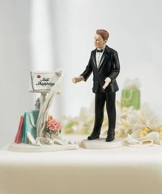 "A comical combination of our ""Still Shopping"" Message Board and our Surprised Groom #cake #topper."