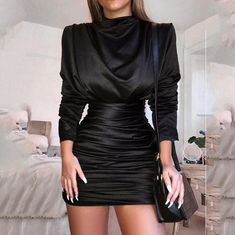 Fall turtleneck long sleeve women dress Vintage high waist bodycon dress Autumn silky ruched party dresses vestidos verano, black / XL - Fashion Show Sexy Dresses, Vintage Dresses, Evening Dresses, Fashion Dresses, Mini Dresses, Fashion Clothes, Glamouröse Outfits, Classy Outfits, Club Outfits