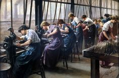 Women workers cutting files, E F Skinner, showing the interior of Cyclops Steel and Iron Works, Sheffield, with a line of women factory workers using lathes to cut rat tail files. Belle Epoque, Female Images, My Images, Factory Worker, Steel Paint, Woman Illustration, Working Woman, Women In History, Girls Image