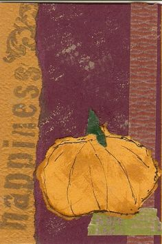 """Pumpkin ATC received from Shannon.  Pretty fancy, she has her own """"swap-bot"""" business cards.  Great idea!"""