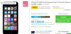 iPhone 5S 16GB Prata IOS 8 4G Wi-Fi Câmera de 8MP >