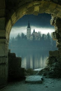 Island Castle, Slovenia - not really Arthurian, but it certainly seems it could be right out of The Mists of Avalon.
