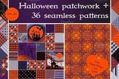 Halloween seamless patterns Graphics Collection of 37 halloween patterns: Halloween seamless patchwork pattern   36 seamless abstract pat by Happy Dragon`s shop