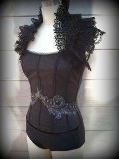 Aerial silks costume / custom dance costume / Steampunk lace collar stretch corset leotard / made to order