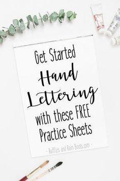 These free hand lettering practice sheets will help you get started with modern calligraphy, brush lettering, or bounce-style lettering. - How to Get Started with Hand Lettering Brush Lettering Worksheet, Hand Lettering For Beginners, Calligraphy For Beginners, Hand Lettering Styles, Hand Lettering Practice, Hand Lettering Alphabet, Hand Lettering Tutorial, Calligraphy Alphabet, Calligraphy Fonts