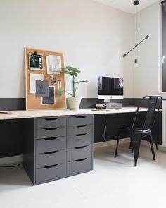 I am so happy with the extra workspace and new look from o … – Designs Diy Office Desk, Home Office Decor, Home Decor, Ikea Office, Garden Office, Home And Living, Small Spaces, Sweet Home, New Homes