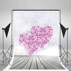 5x7ft Plancher de bois Photographie Fonds d'écran Fleurs rouges Amour Saint-Valentin Fond photo