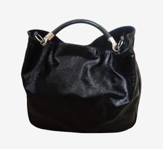 Yves Saint Laurent Black Patent With Silver Hardware Tote