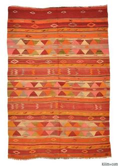 Vintage Fethiye Kilim Rug around 50 years old from Kilim.com.