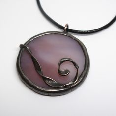Lilac Moon - Stained Glass Pendant with Black Cord by faerieglass on Etsy