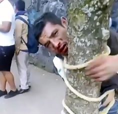 Vigilantes Leave Beaten And Bloodied Thief Tied To Tree - ViralTab Beats