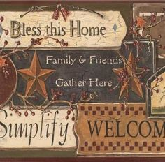 Country Sign Pc3976bd From Inspired By Color Borders Book Primitive Wallpaper Rustic
