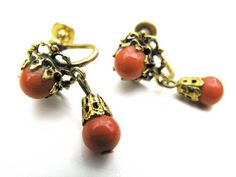 Vintage Coral Earrings Gold Tone Vintage Jewelry by by MyChouchou, $7.50