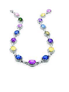 Multi-color sapphire necklace with diamonds.
