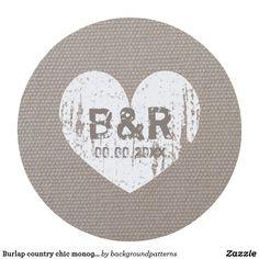 Burlap country chic monogram coasters for wedding