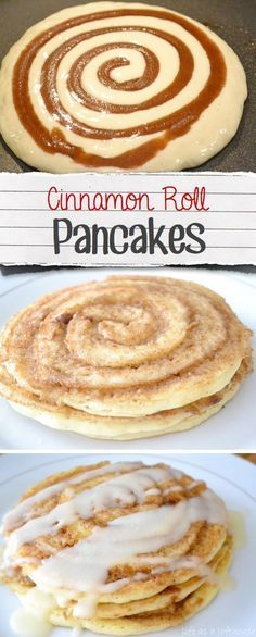 Cinnamon roll pancakes Are these breakfast or dessert? Either way I'll eat the… Cinnamon roll pancakes Are these breakfast or dessert? Either way I'll eat them… combining cinnamon rolls and pancakes sounds like an amazing idea! What's For Breakfast, Breakfast Recipes, Dessert Recipes, Breakfast Pancakes, Yummy Breakfast Ideas, Pancakes Easy, Buttermilk Pancakes, Quick And Easy Breakfast, Breakfast Dessert