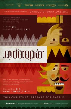"""The Nutcracker"" theater poster design for Renegade Theater Company in Duluth, Minnesota (1 of 2 orientations). 2012."