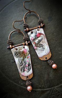 Enameled Charms, Enameled Earrings, Poetic, Bohemian, Gypsy, Artisan ...