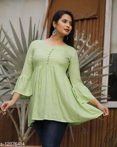 Tops & Tunics Charvi Green Rayon Slub Solid Bell SleevesTop  Fabric: Rayon Slub Sleeve Length: Three-Quarter Sleeves Pattern: Solid Multipack: 1 Sizes: S (Bust Size: 36 in)  XL (Bust Size: 42 in)  L (Bust Size: 40 in)  M (Bust Size: 38 in)  XXL (Bust Size: 44 in)  Country of Origin: India Sizes Available: S, M, L, XL, XXL   Catalog Rating: ★4.2 (479)  Catalog Name: Urbane Glamorous Women Tops & Tunics CatalogID_2304590 C79-SC1020 Code: 303-12076414-117