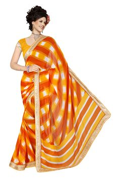 Sku : 22364 Fabric : Georgette Pallu Fabric: Georgette Blouse Fabric : Banglori Silk Detail : Printed With lace Border Georgette Saree Pattern : Printed Length : 5.2 Blouse Length mtrs : 0.8 Color : Orange Blouse Color : Orange Blouse Work : Occasion : Casual Orange Georgette Casual Printed saree