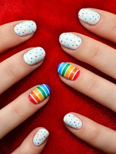 Rainbow Nail Art Design With Stripes and Dots