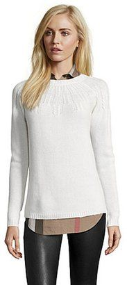 Hayden winter white rib knit cashmere cable knit yoke sweater - Shop for women's Sweater - black Sweater